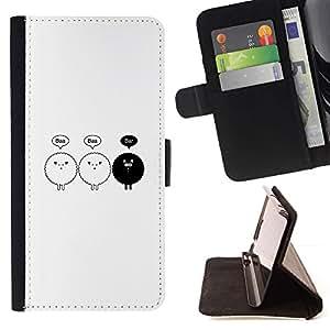 Momo Phone Case / Flip Funda de Cuero Case Cover - Ovejas Negro minimalista Dibujo lindo - Huawei Ascend P8 (Not for P8 Lite)