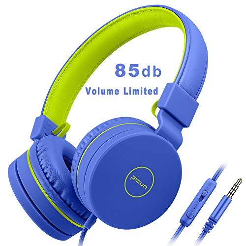 Kids Headphones for Toddlers Boys,85dB Volume Limiting Hearing Protection with Mic,Foldable Lightweight On Ear Headphones for Child Children,Boy Headphones Earphones Headset for Kids-Blue