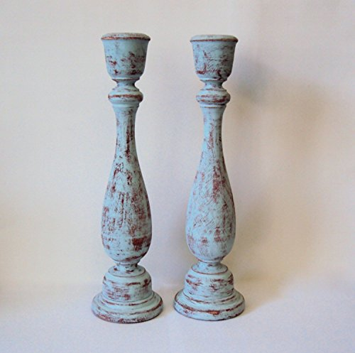 Shabby Cottage Chic Wooden Candlesticks - Distressed Blue &