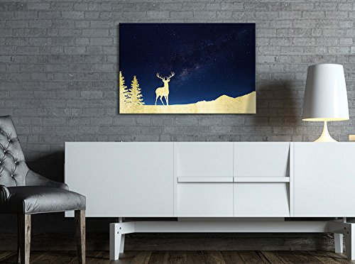 Print Golden Deer in The Mountain and The Galaxy