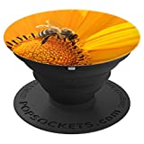 Bee on Sunflower w/ Pollen - PopSockets Grip and Stand for Phones and Tablets