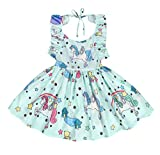 Cotrio Baby Girls Sundress Unicorn Strappy Backless Slip Dress Toddler Pageant Party Dresses Size 4T (110, 3-4Years, Lake Blue)