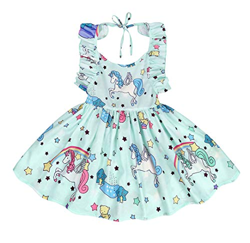 Cotrio Baby Girls Sundress Unicorn Strappy Backless Slip Dress Toddler Pageant Party Dresses Size 4T (110, 3-4Years, Lake Blue) by Cotrio