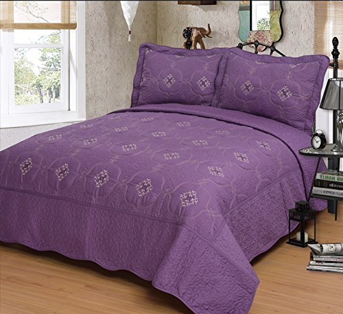 Mk Collection Purple 3pc Bedspread Coverlet Embroidery Quilt Set (King)