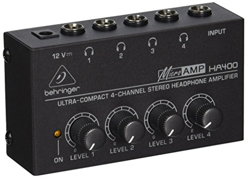 4 Channel Headphones Amplifier System - Behringer Microamp HA400 Ultra-Compact 4-Channel Stereo Headphone Amplifier