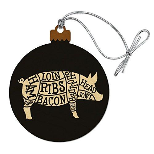 GRAPHICS & MORE Pork Pig Parts Illustration Bacon Wood Christmas Tree Holiday Ornament