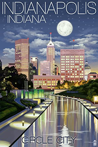 Indianapolis, Indiana - Indianapolis at Night Circle City (16x24 Fine Art Giclee Gallery Print, Home Wall Decor Artwork Poster)