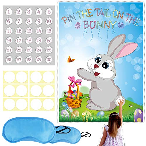 Konsait Pin The Tail on The Easter Bunny Rabbit Easter Party Game Set, Easter Family Game, Office, School Fun Easter Party Game for Kids, Children, Easter Party Supplies