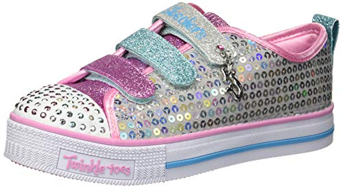 Skechers Kids Girls' Twinkle LITE-Mermaid Magic Sneaker, Silver/Multi, 13 Medium US Little - Twinkle Toes