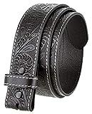 Genuine Full Grain Western Floral Engraved Tooled Leather Belt Strap 1-1/2' Wide (Black 42)