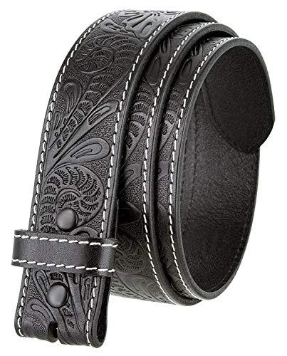 Floral Leather Belt Buckle - Genuine Full Grain Western Floral Engraved Tooled Leather Belt Strap 1-1/2