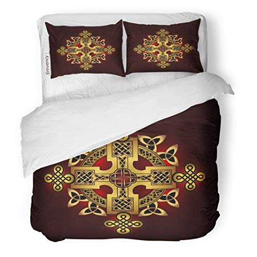Semtomn Decor Duvet Cover Set King Size Air Golden Ancient Pagan Scandinavian Sacred Symbol The Druids 3 Piece Brushed Microfiber Fabric Print Bedding Set Cover ()