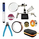 Repair Tool Kit, Including Helping Hand Magnifier with Soldering Station, Solder Wire, Desoldering Pump, Desoldering Wick, CHP-170 Wire Cutter, Copper Foil Tape and Solder Cleaning Wire in Carry Bag