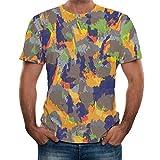 Kirbaez Men's T-Shirt Fashion Short Sleeve Slim Fit Personality Splash-Ink 3D Printed Casual Sport Shirts Tops Blouse