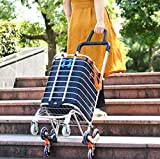 Folding Shopping Cart Portable Grocery Utility Lightweight Stair Climbing Cart with Rolling Swivel Wheels and Removable Waterproof Canvas Removable Bag (Navy Blue)