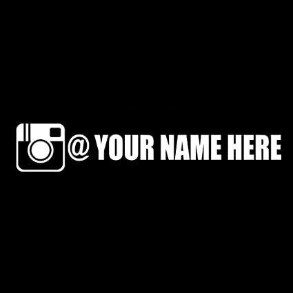 Custom instagram add your name gloss white vinyl sticker decal car truck auto window