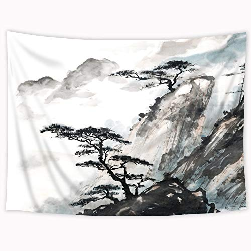 Riyidecor Landscape Painting Tapestry 80x60 Inch Japanese Oriental Style Ink Watercolor Mountain Trees Rustic Black Artwork Print Wall Hanging Indigenous Bedroom Living Room