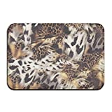 1 Piece Smart Dry Memory Foam Bath Kitchen Mat For Bathroom - Leopard Print Shower Spa Rug 18x36 Door Mats Home Decor With Non Slip Backing - 3 Sizes