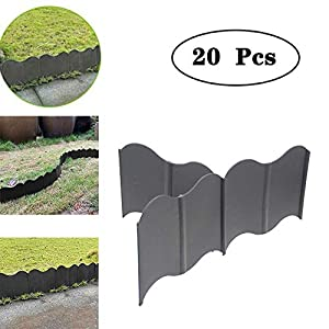 Interlocking Landscaping Edging Kit,Edging Kit,Plastic Lawn Border Edging,Garden Grass Edge Fence,No-Dig,Pound-in Garden…