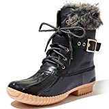 DailyShoes Women's Snow Booties Up Ankle Buckle Duck Padded Mud Rubber Rain Boots