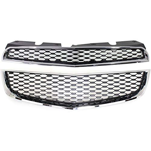 New Front Lower Grille For 2010-2015 Chevrolet Equinox Matte-Black With Chrome Molding, Made Of Abs Plastic GM1200621 ()