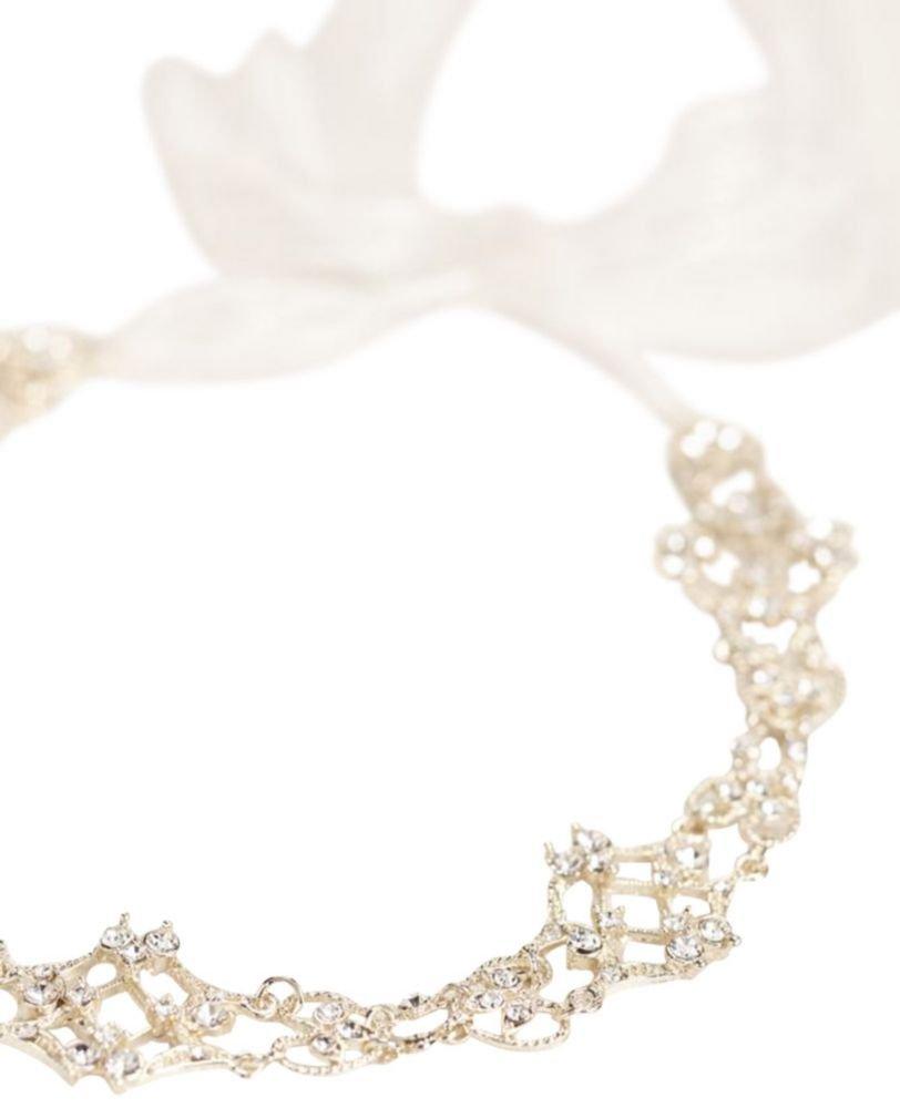 Filigree Crystal Tieback Headband Style H9065, Gold by David's Bridal