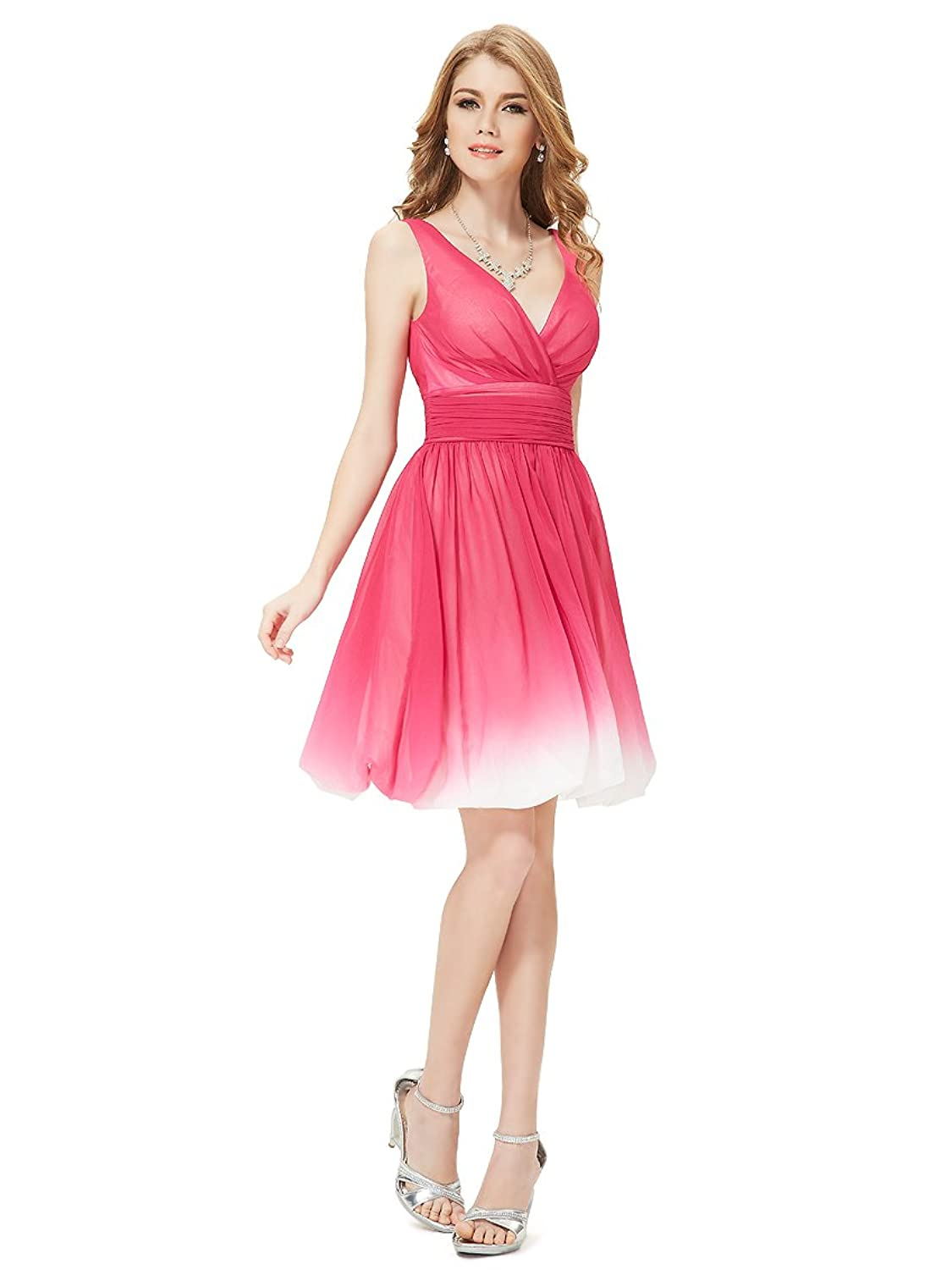 Ever Pretty Double V-neck Ombre Hot Pink Short Party Dress For Teenagers 03923