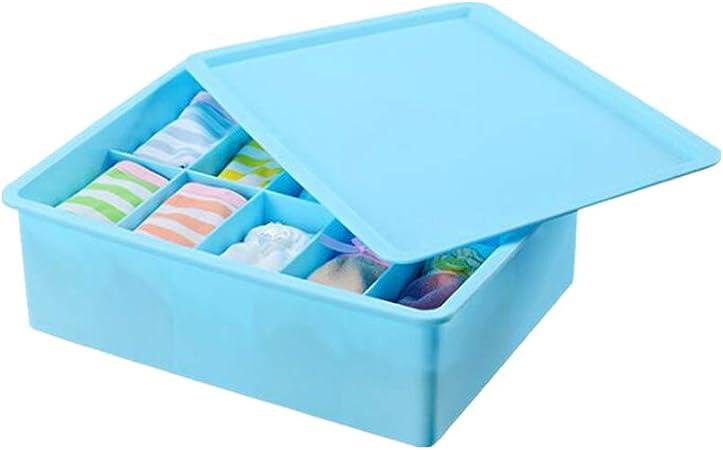 Cosanter 1 Pieza 15 grilla de Caja Ropa Interior Calcetines Corbatas Cinturones Sujetador Caja de Almacenamiento cajones (Azul) 31,5 x 24,5 x 9 cm: Amazon.es: Hogar