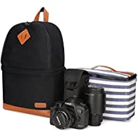 Kattee Professional Canvas SLR DSLR Camera Backpack Laptop Bag Case