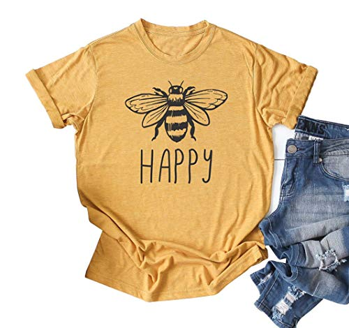 Bee Womens T-shirt - Women Happy Bee Letters Printed Round Neck Short Sleeve Casual T-Shirt Size S Yellow