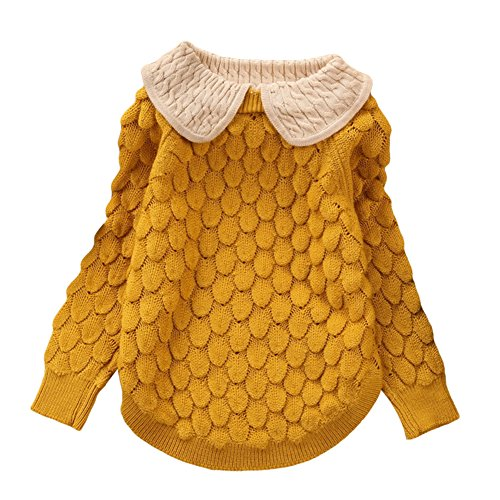 Toddler Baby Girl Cable Knit Sweater Lovely Kid Pullover Sweatshirt yellow ()