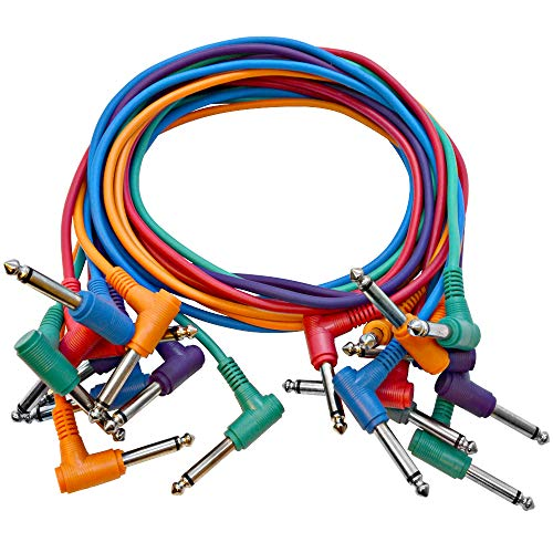 SEISMIC AUDIO - SARAPC3-10 Pack 3 TS 1/4 Right Angle Patch Cables