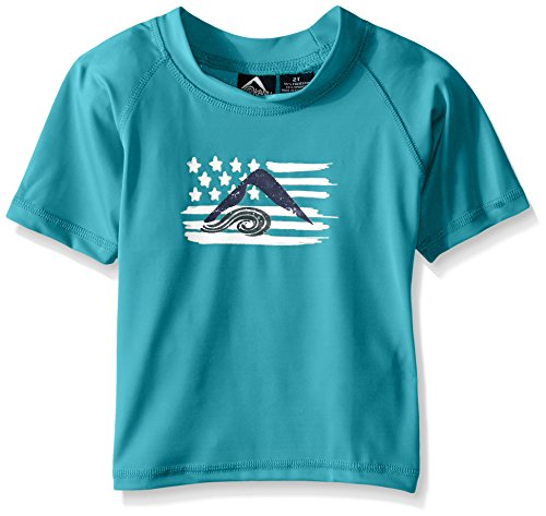 Kanu Surf Little Boys' Toddler Optic UPF 50+ Sun Protective Rashguard, Aqua, 3T
