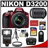 Nikon D3200 Digital SLR Camera and 18-55mm G VR DX AF-S Zoom Lens (Red) + 55-200mm VR Lens + 16GB Card + Flash + Case + Filters + Remote + Tripod + Accessory Kit, Best Gadgets