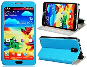 Textured Faux Leather Flip Case with Transparent Cover & Stand for Samsung Galaxy Note 3/ N9000/ N9005 (Blue)