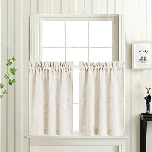 Tier Curtains for Kitchen Linen Textured Crude Window Curtains for Bathroom 36 Inch Long Rod Pocket Flax Window Treatments 1 Pair