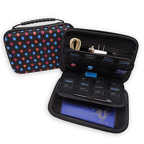 Soyan Hard Carrying Case for Nintendo New 3DS XL and 2DS XL, 16 Game Card Holders, with Carry Handle (Polka Dots) ()