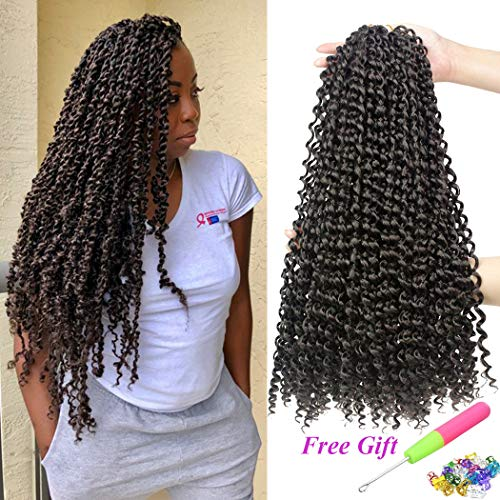 7 Packs Passion Twist Hair 18 Inch Water Wave Synthetic Braids for Passion Twist Crochet Braiding Hair Goddess Locs Long Bohemian Locs Hair (22Strands/Pack, 4#)