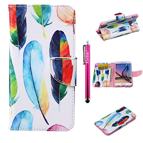 [S6 Edge Plus Case, Firefish High Grade PU Leather Wallet [Card Pockets] [kickstand Feature] Magnetic Closure and Scratch-Resistant Case for Samsung Galaxy S6 Edge Plus - Colorful] (Homme Costume National)