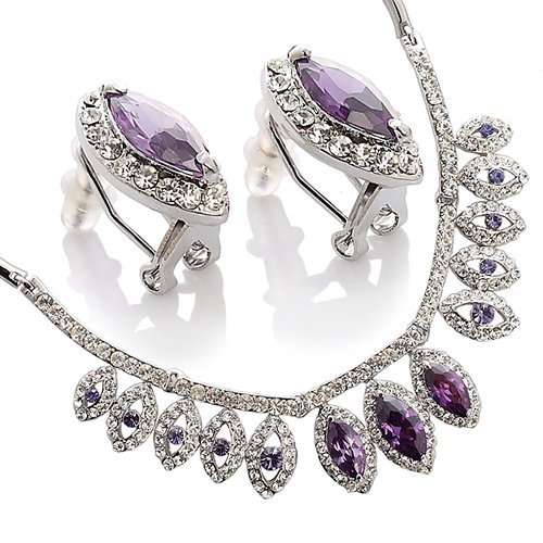 [Tiered Pear Drops Jewellery Set, Necklace & Matching Earrings Jewellery Gift Set For Christmas & Anniversaries - Amethyst, Janeo] (Adult Pear Costumes)