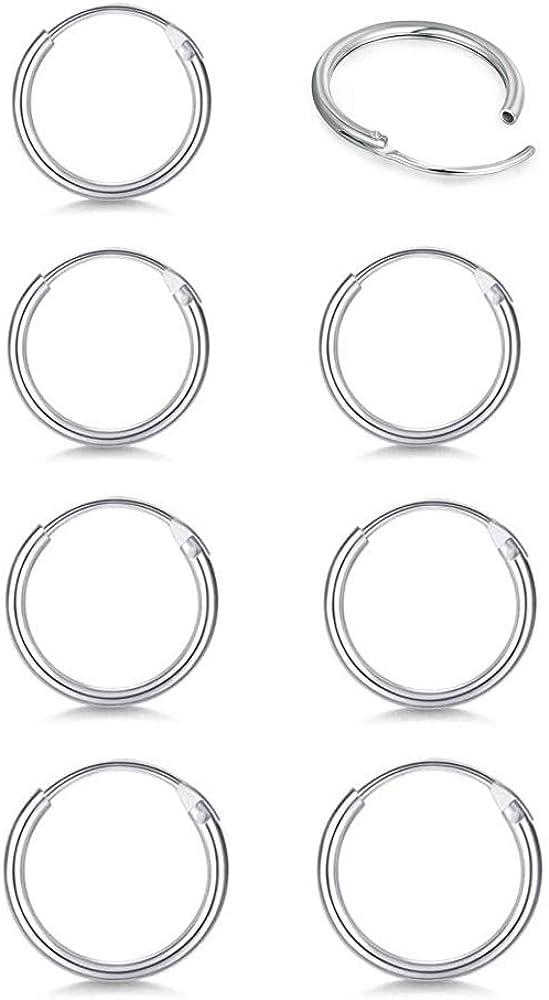 Sterling Silver Small Hoop Earrings for Women Men Girls, 4 Pairs Hypoallergenic Cartilage Earrings Hoop Pack Endless Helix Tragus Earrings Nose Lip Rings (8mm 10mm 12mm 14mm)