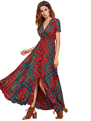 Milumia Women Floral Print Button Up Split Flowy Party Maxi Dress (Large, Red-4)