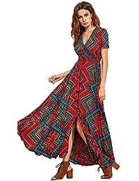 81d292f8680 Women s Button Up Split Floral Print Flowy Party Maxi Dress