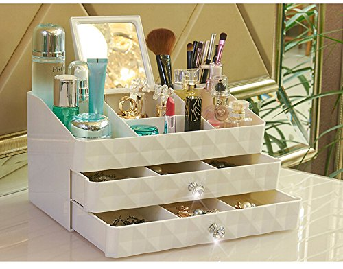 Makeup Organizer,Unique Cosmetic Makeup and Jewelry Storage Case Drawers Display Boxes with 8 Compartments Top (Large)