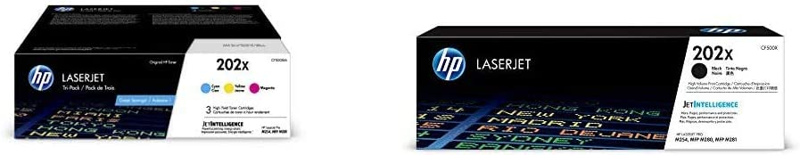 HP 202X | CF501X, CF502X, CF503X | 3 Toner Cartridges | Cyan, Magenta, Yellow | High Yield & 202X | CF500X | Toner Cartridge | Black | High Yield