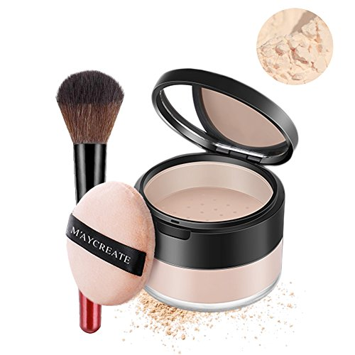 Magic Minerals Powder Foundation Oil-control Longlasting Loose Powder Set Waterproof Concealer With Makeup Brush For Women Shine Works All Day Make Up (1#Natural color + brush)