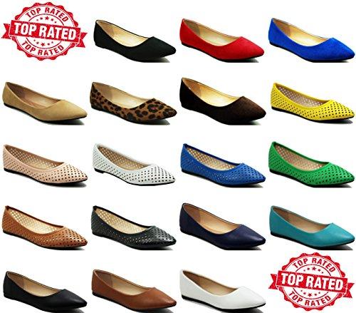 Slip Perforado Walstar Para Mujer En Cómodos Zapatos Planos Con Punta Puntiaguda Marrón Perforado