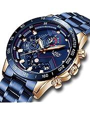 Montres LIGE de Étanche Sport Analogique Quartz Montre Hommes Loisir Acier Inoxydable Noire Chronographe Montre-Bracelet