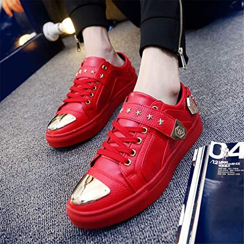 Soir À Chaussures Pont Et Scintillantes Basses Soirée Mariage De Pour Scintillantes personnalité chaussures Rivets Yan chaussures Club Nuit Noir stade Blanc Hommes Paillettes Rouge dTxYvaYn