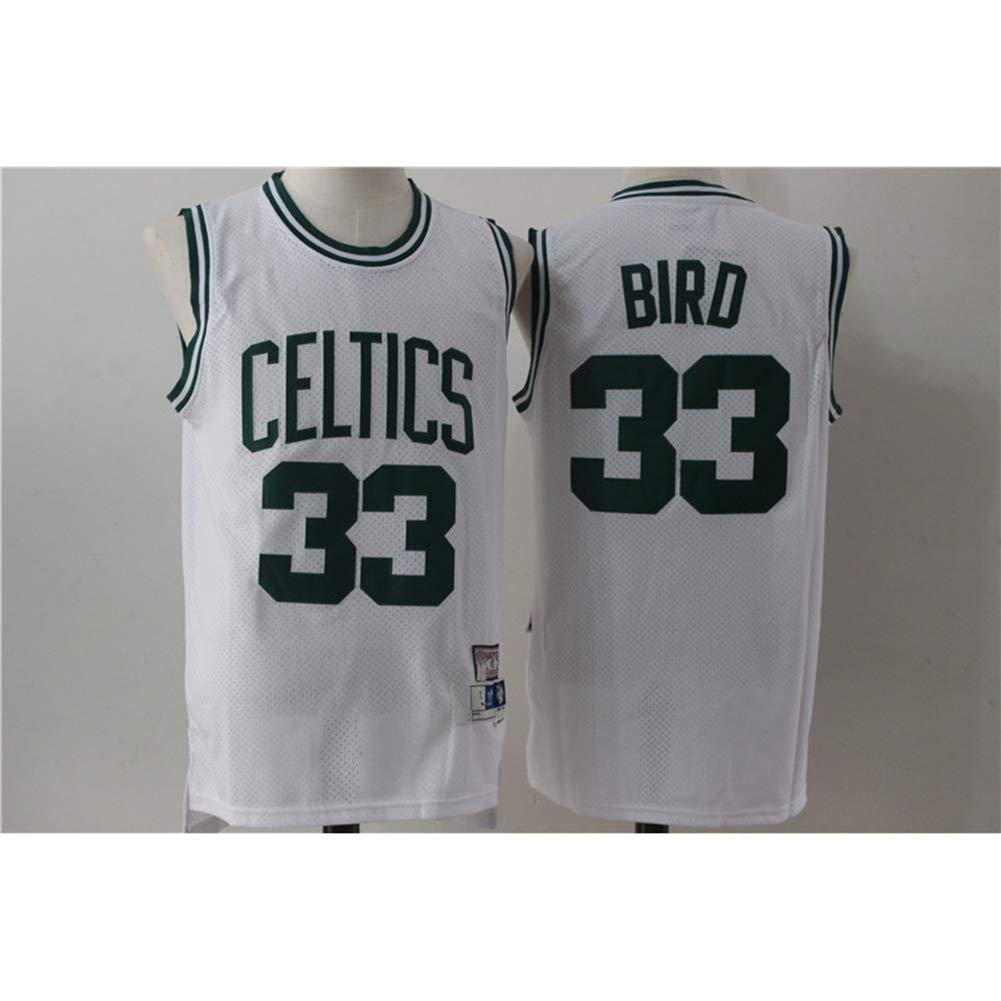 Retro Comoda//Leggera//Traspirante Maglietta Sportiva Swingman Ricamata Uomo XH-Sport Maglietta NBA Larry Bird # 33 Boston Celtics Classics Uniforme da Fan da Basket da Donna